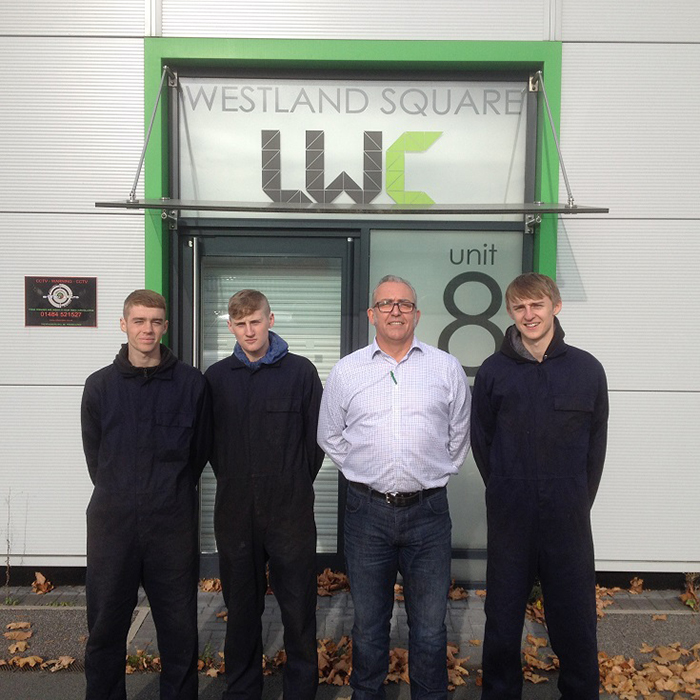 Jack, Josh and Henry with Works Manager Adam Frame