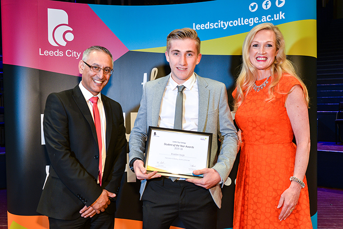 Braddon Haign wins the welding student of the year at the Leeds City College annual awards ceremony
